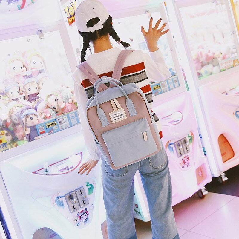 กระเป๋าสะพายพาดลำตัว นักเรียน ผู้หญิง วัยรุ่น ปราจีนบุรี Sale กระเป๋าเป้ Two Tone Backpack กระเป๋าเป้สะพายหลัง แฟชั่นเกาหลี กระเป๋าน่ารัก