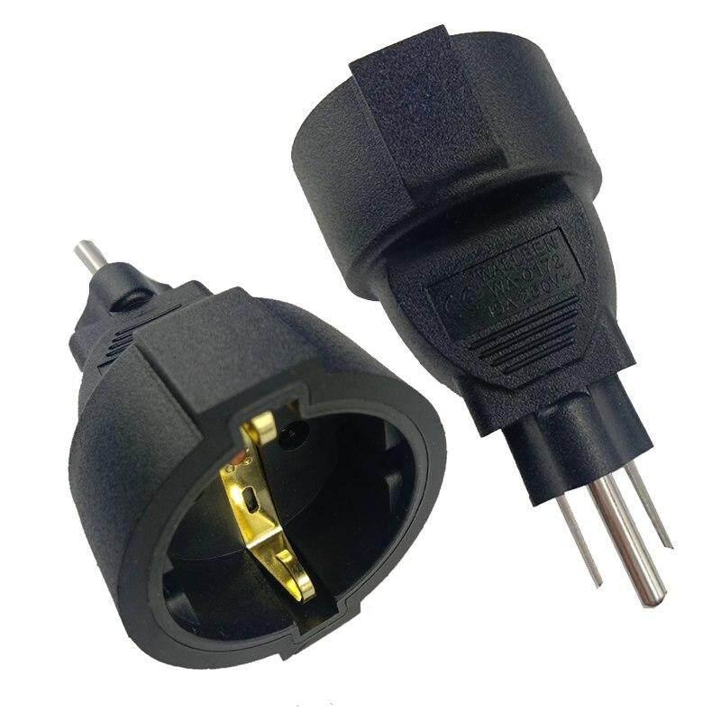 หัวแปลงปลั๊กไฟ หัวแปลงปลั๊กยุโรปไปเป็นปลั๊กอเมริกา Eu To Us American Plug Adapter  หัวแปลงเพิ่มขากราวด์ปลั๊ก.