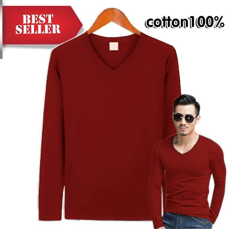 ขายดี/ถูก!! เริ่ม 79บ.!!เสื้อยืดคอวีแขนยาว ผ้าฝ้าย-คอตตอน 100% Size S,m,l,xl สินค้าจำนวนจำกัด By World Of T-Shirts.