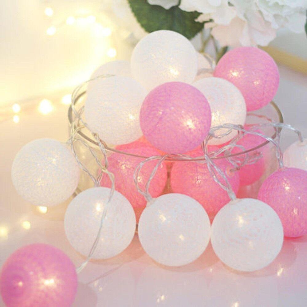 ขาย โคมไฟสี Pastel ขาว ชมพู บอลด้ายตกแต่งห้องนอน ห้องนั่งเล่น ยาว 4 เมตร โคมห้อย โคมทำมือ Sara เป็นต้นฉบับ