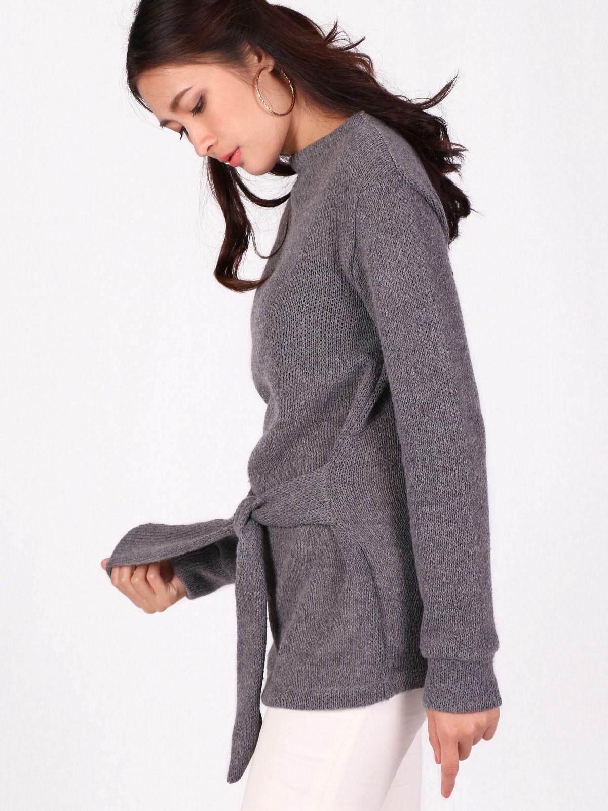 ขายดีมาก! (ส่งฟรี Kerry) Mixon เสื้อกันหนาว เสื้อสเวตเตอร์ผูกโบว์ Adalene Sweater Bow Tie