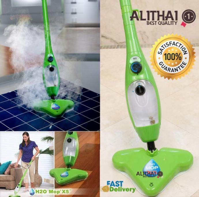 Alithai ไม้ถูพื้น เครื่องทำความสะอาดพลังไอน้ำ H2O Mop 5 in 1 Steam Mop Cleaner X5 - สีเขียว