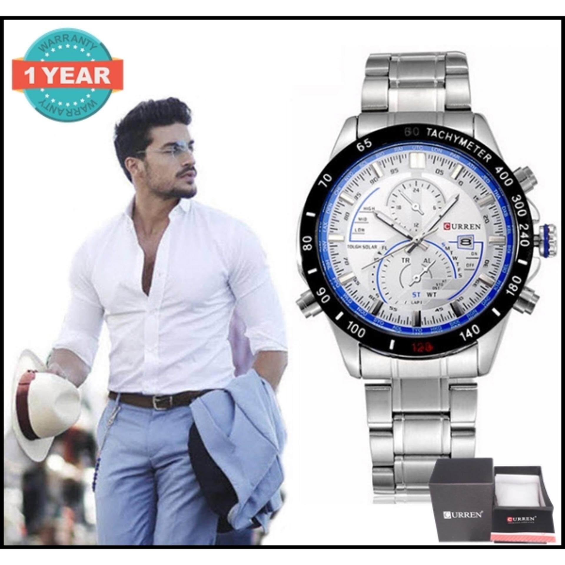ขาย ซื้อ ออนไลน์ Curren นาฬิกาข้อมือสุภาพบุรุษ สายสแตนเลส รุ่น C8149 Silver White