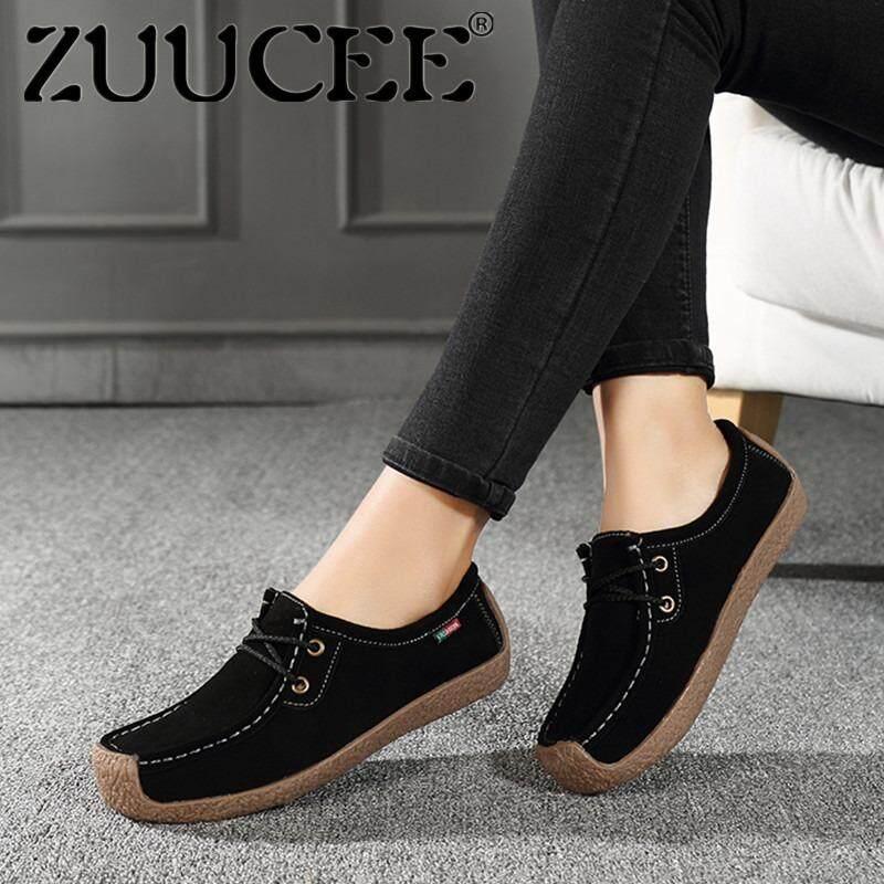 Zuucee รองเท้าแบน รองเท้าผู้หญิงของ Peas Laces รองเท้าหนัง รองเท้าหนังนิ่มขนาดใหญ่ เป็นต้นฉบับ