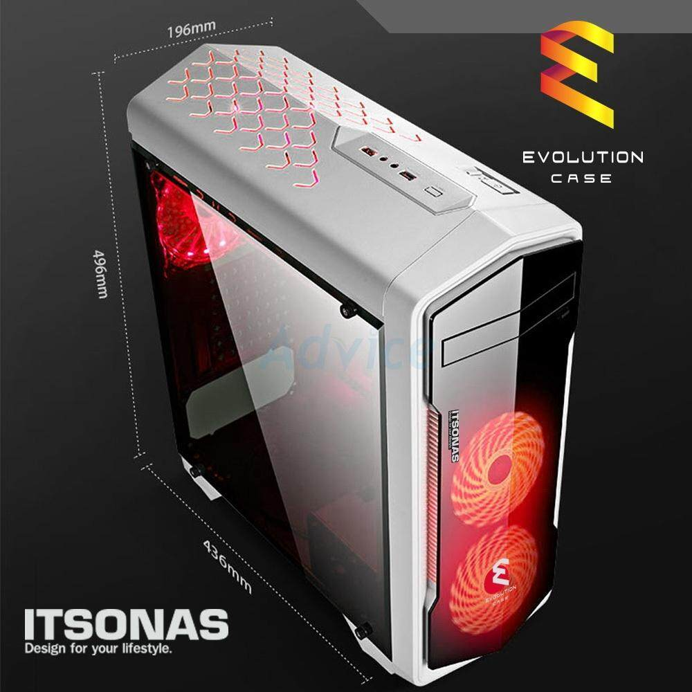 Itsonas เคสคอมพิวเตอร์ Atx Case (np) Evolution (white/red) By Iceshop.