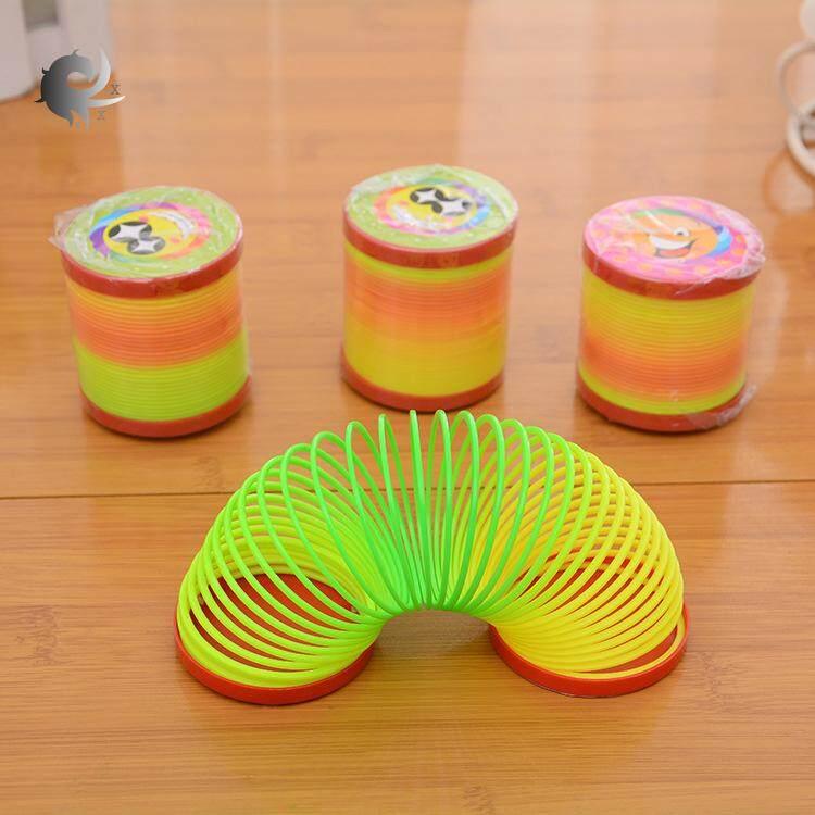 1pcs แหวนสปริง, วงกลมรุ้ง, พลาสติก, แหวนยืดหยุ่น, Jenga, ความคิดสร้างสรรค์ของเด็ก, การผลิตพลาสติกที่มีคุณภาพสูง (5 * 5.5 ซม.) By Shanghaied.