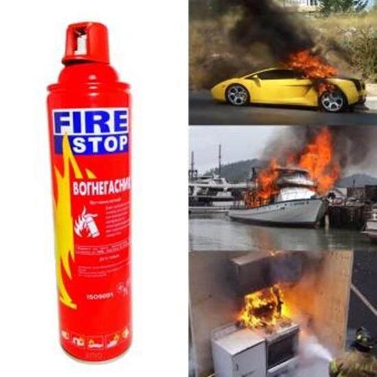 สเปรย์ป้องกันไฟ ถังดับเพลิงแบบพกพา สำหรับติดรถยนต์ เรือ ห้องครัว หรือ แคมปิ้ง Fire Stop 1000 Ml By Pommi.