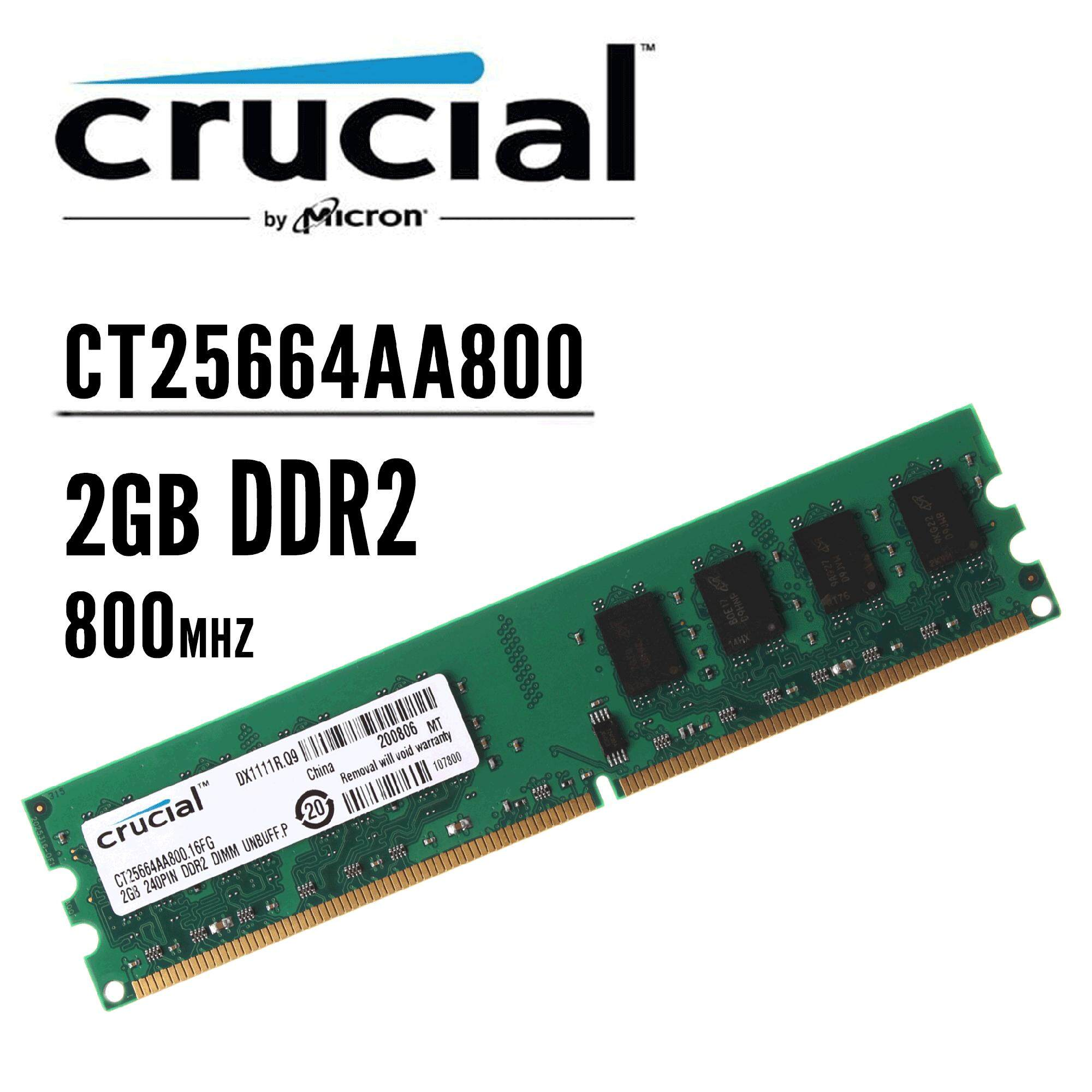 Ram Memory Memori Pc Ddr2 2gb Kingston 6400 800 Pc2 Ct25664aa800 Crucial Desktop