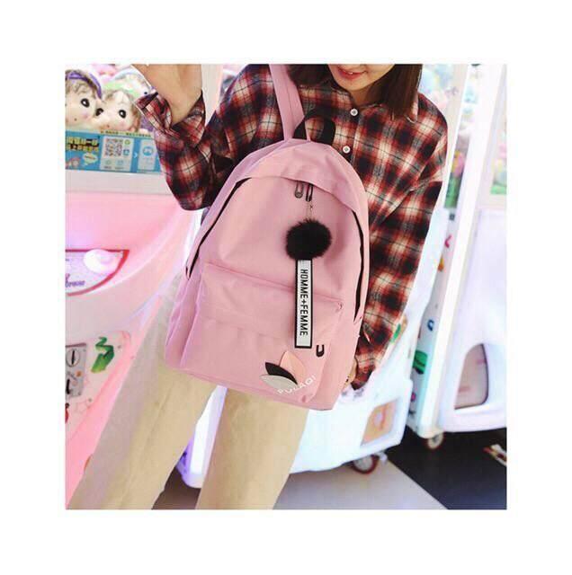 กระเป๋าสะพายพาดลำตัว นักเรียน ผู้หญิง วัยรุ่น ปทุมธานี พร้อมส่งกระเป๋าเป้ แถมปอมๆฟรี M 138