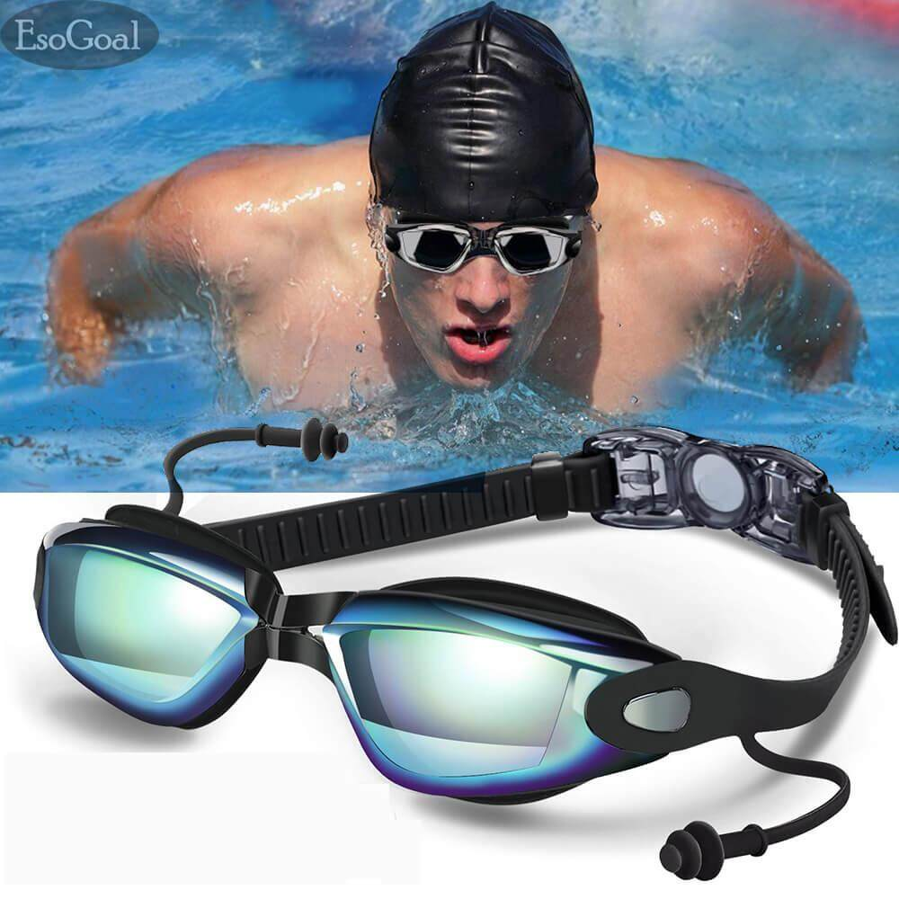 Esogoal Swim Goggles, Swimming Goggles For Adult Men Women Youth Kids Child, Triathlon Equipment, With Mirrored & Clear Anti-Fog, Waterproof, Uv 400 Protection Lenses .