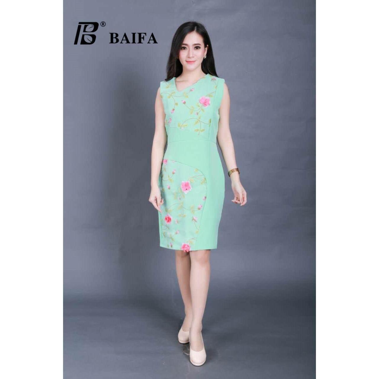 ขาย Baifa Shop ชุดเดรสผ้า มีซิปหลัง ทรงสวิงอย่างดี รุ่น 3301 เป็นต้นฉบับ