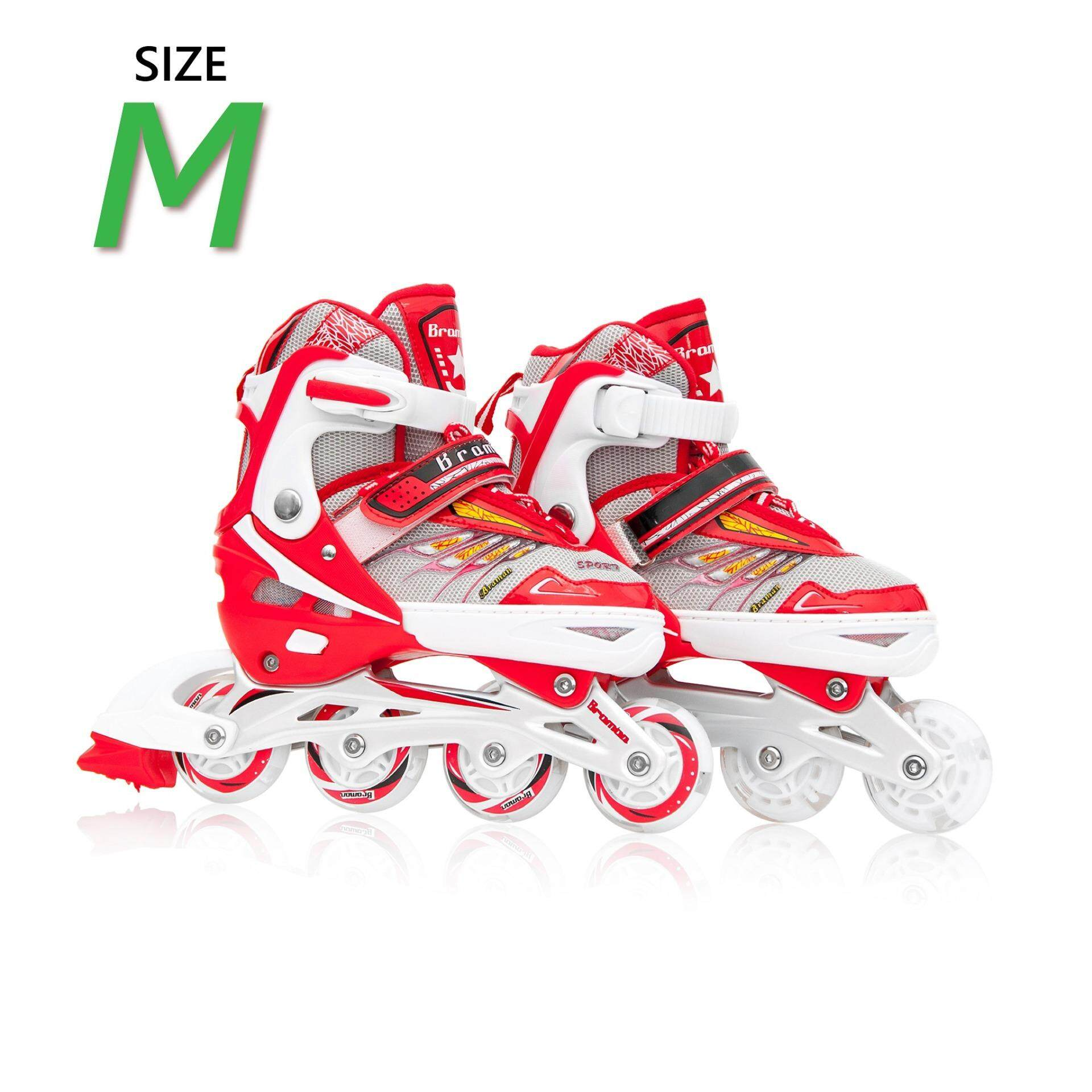 ราคา รองเท้าอินไลน์สเก็ต Premium Inline Skate Braman Aluminium Tracks Abec 7 Wheels With Lights 0416B Warranty 1 Year เบอร์ 28 32 Red M Promark ไทย