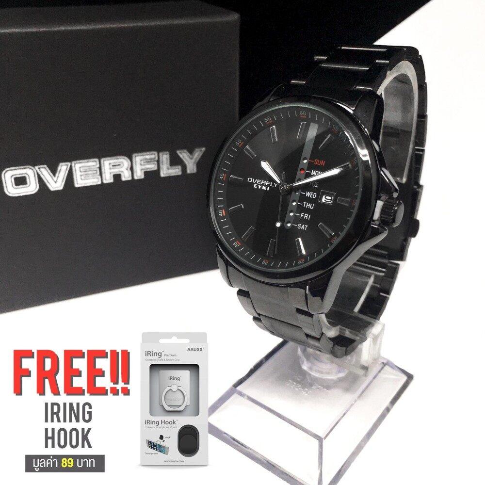 ส่วนลด Overfly Eyki นาฬิกาข้อมือผู้ชาย สีดำ สายสแตนเลส รุ่น Eov 8481Ag B ฟรี Iring Hook ไทย