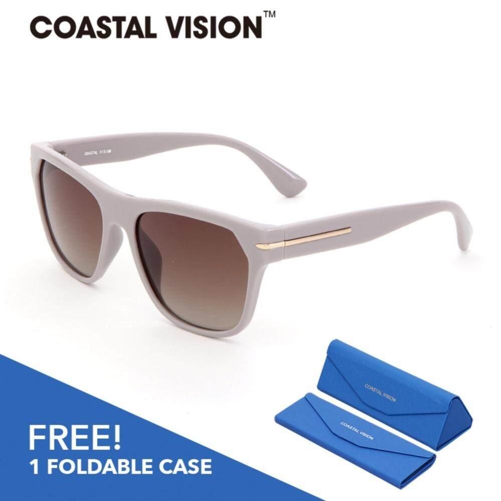 Coastal Vision แว่นกันแดดโพลาไรซ์สำหรับผู้หญิง กรอบทรงสี่เหลี่ยมจัตุรัสสีเทา เลนส์ป้องกันรังสี Uva B Cvs5022 ใน ฮ่องกง