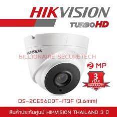 Hikvision HDTVI 1080P รุ่น DS-2CE56D0T-IT3F  2MP (3.6 mm) ใช้กับเครื่องบันทึกที่รองรับกล้องความละเอียด 2 ล้านพิกเซลขึ้นไปเท่านั้น