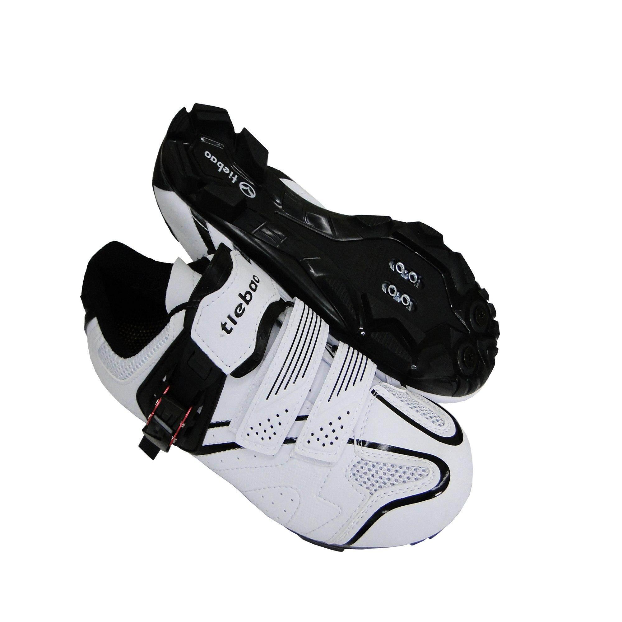 Tiebao รองเท้าปั่นจักรยาน เสือภูเขา สีขาว/ดำ รุ่นtb15-B1413.