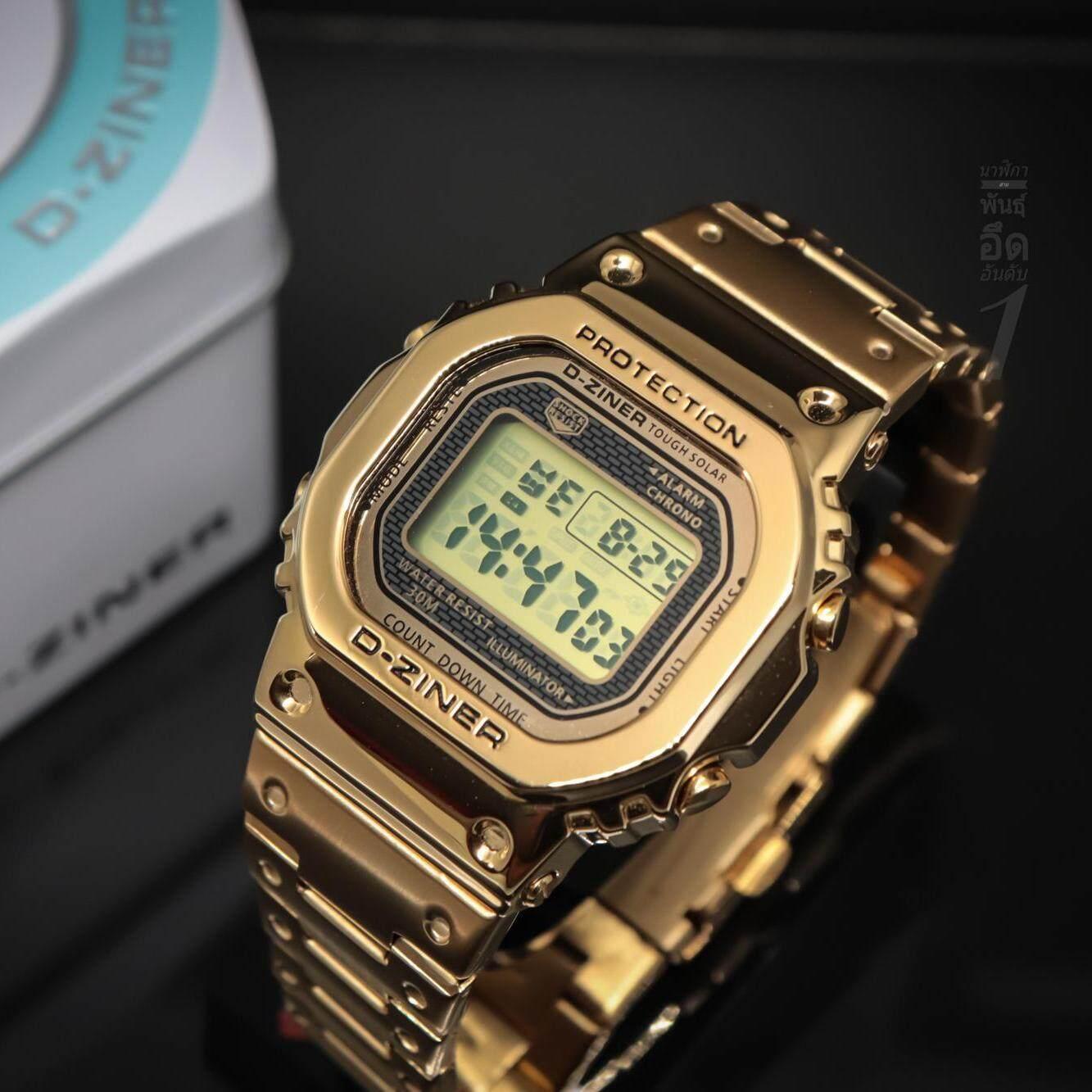 นาฬิกา D Ziner รุ่นใหม่ล่าสุด สไตล์ G Shock สุดฮิต ที่กำลังนิยมในขณะนี้ ( สี Pinkgold) สินค้าของแท้ 100%.