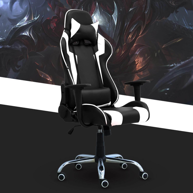 BG Furniture  เก้าอี้เล่นเกมส์ เก้าอี้สำนักงาน ปรับนอนได้ Gaming Chair - รุ่น E-01 (White)