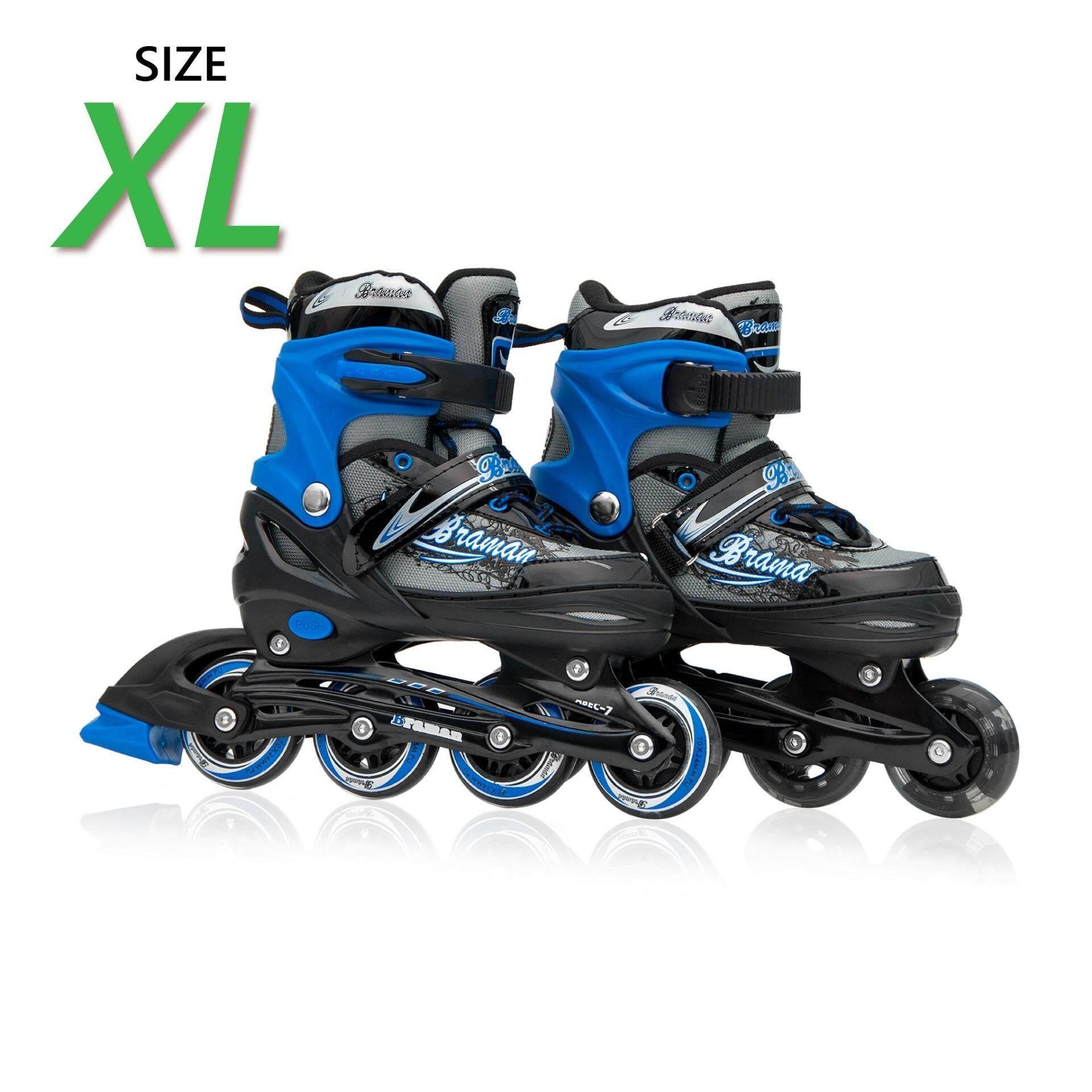 ขาย รองเท้าอินไลน์สเก็ต Premium Inline Skate Braman Aluminium Tracks Abec 7 Wheels With Lights 0415B Warranty 1 Year เบอร์ 37 44 Black Xl ถูก