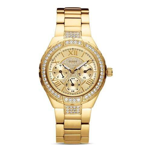 นาฬิกาผู้หญิง GUESS Sparkling Hi-Energy Mid-Size Gold-Tone Ladies Watch W0111L2
