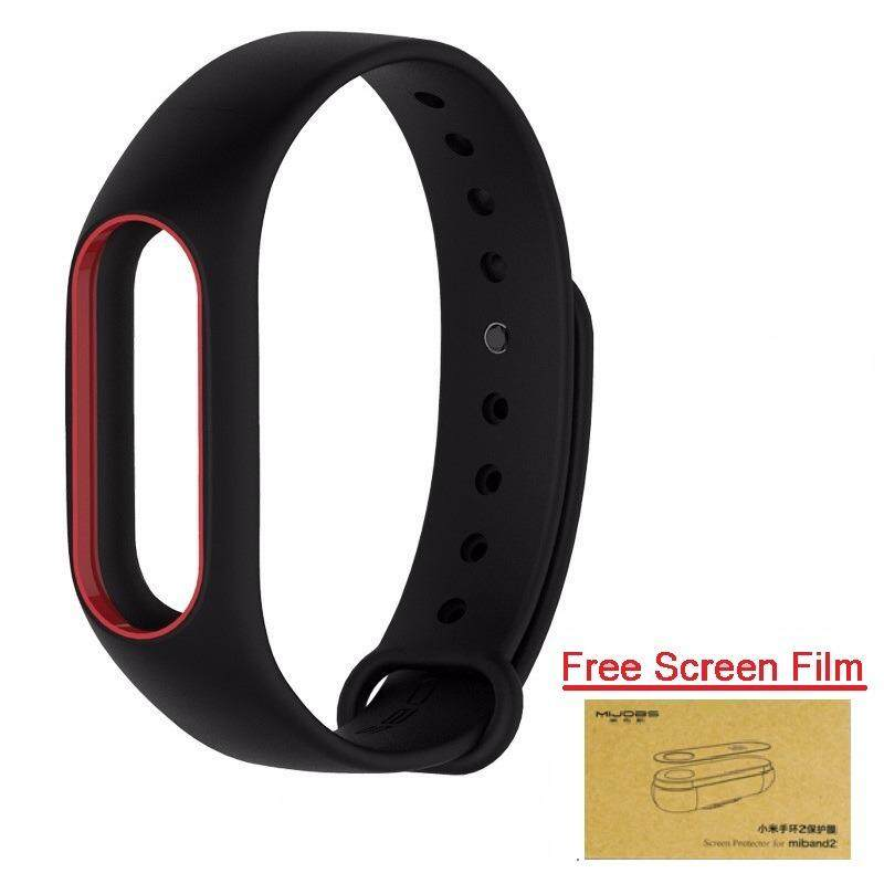 Xiaomi สายรัดข้อมือ Wristband for Xiaomi Mi Band 2 (Black Red + Free Screen Protector)