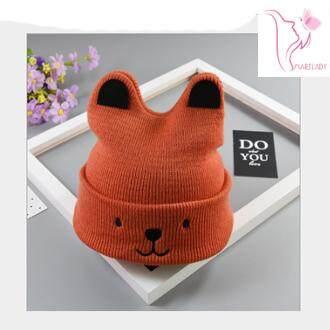 หมวกไหมพรมเด็ก หมวกหูหมี หมวกไหมพรม หมวกเด็กเล็ก หมวกเด็กอ่อน หมวกสไตล์เกาหลี หมวกแฟชั่นสีสดใส ผ้านิ่มสบาย.