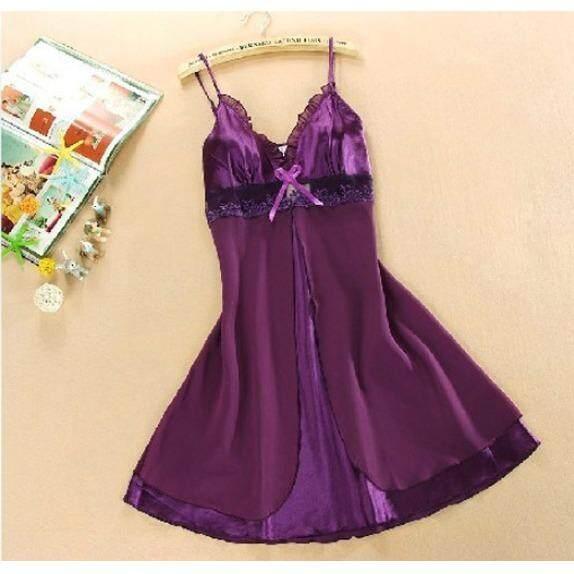 ขาย ชุดนอนเซ็กซี่สายเดี่ยว ผ้าซาตินแต่งผ้าชีฟอง สีม่วง ออนไลน์ ใน กรุงเทพมหานคร