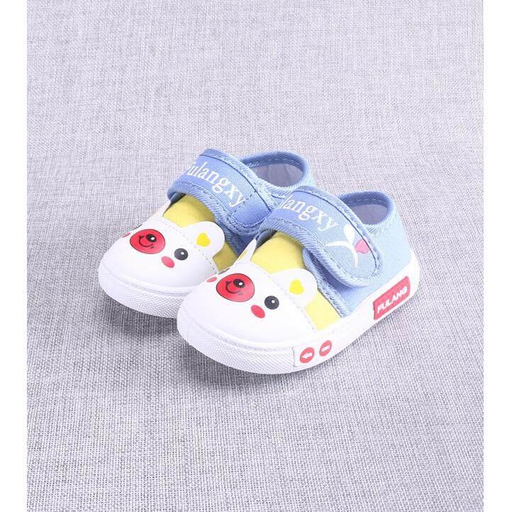 ขาย ซื้อ Cb รองเท้าเด็กพื้นผ้า รองเท้าเด็กเล็ก รองเท้าผ้าใบเด็ก รองเท้าเด็กหัดเดิน สีฟ้า รุ่น 809