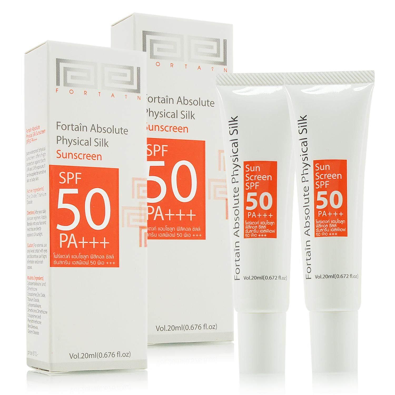 Fortain Absolute Physical Silk Sunscreen Spf50 Pa+++ 20ml (2 ชิ้น) ครีมกันแดด ครีมกันแดดสำหรับผิวแพ้ง่าย ครีมกันแดดสำหรับคนเป็นสิว รักษาสิว ครีมกันแดดที่ดีที่สุด.