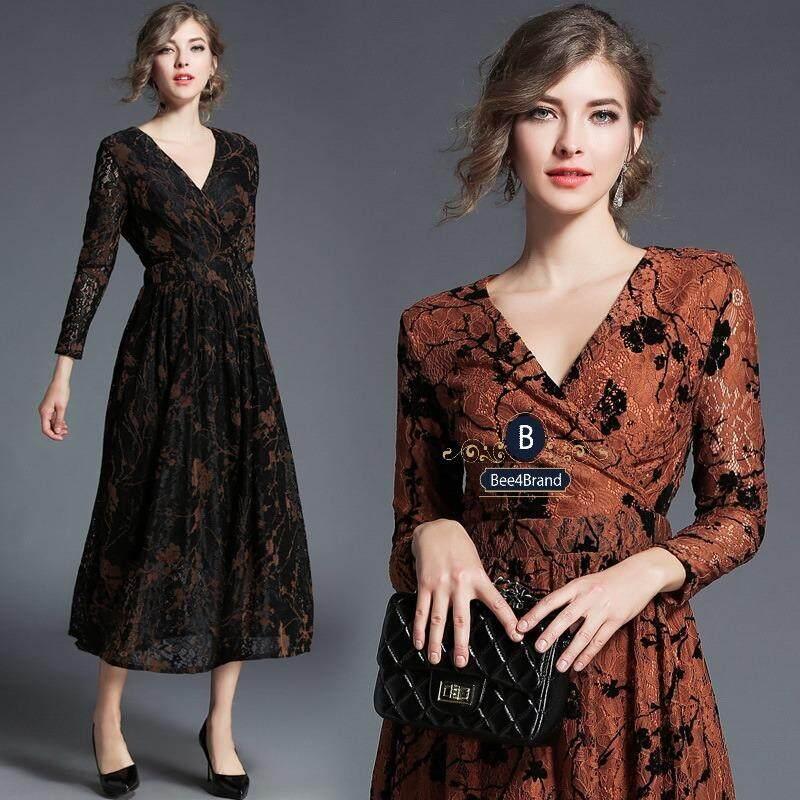 ชุดเดรสผ้าลูกไม้ทั้งชุด V-neck Printed Lace Midi Elegant Dress