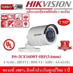 Hikvision กล้องวงจรปิด HDTVI 1080P รุ่น DS-2CE16D0T-IRF 2MP Lens (3.6 mm) 4 ระบบ : HDTVI, HDCVI, AHD, ANALOG มีปุ่มปรับระบบในตัว