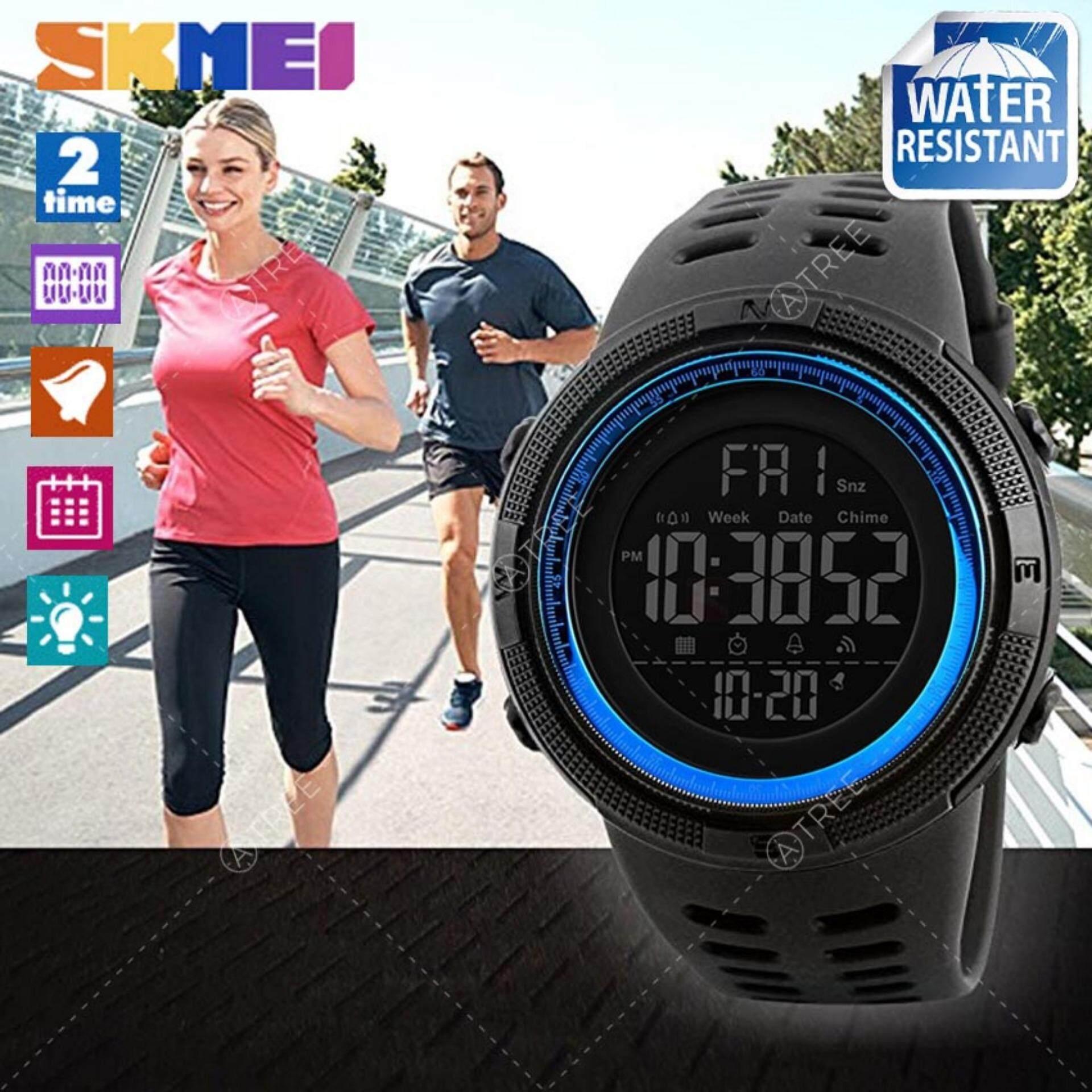 ราคา Skmei ของแท้ 100 ส่งในไทยไวแน่นอน นาฬิกาข้อมือผู้ชาย สไตล์ Sport Digital Watch บอกวันที่ ตั้งปลุก จับเวลา ตัวเลข ไฟ El ใหญ่ ชัดเจน กันน้ำ สายเรซิ่นสีดำ รุ่น Sk M1251 สีดำ Black ราคาถูกที่สุด