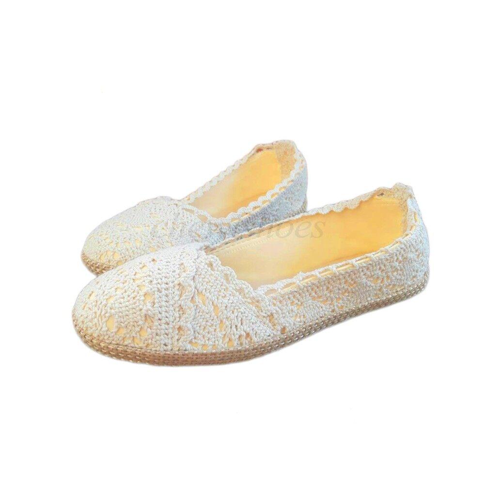ขาย Chewisshoes รองเท้าผู้หญิง รองเท้าแฟชั่น รองเท้าคัทชู รองเท้ารัดส้น คัทชู รองเท้าลูกไม้ คัทชูลายลูกไม้ สีขาว ถูก ใน ไทย