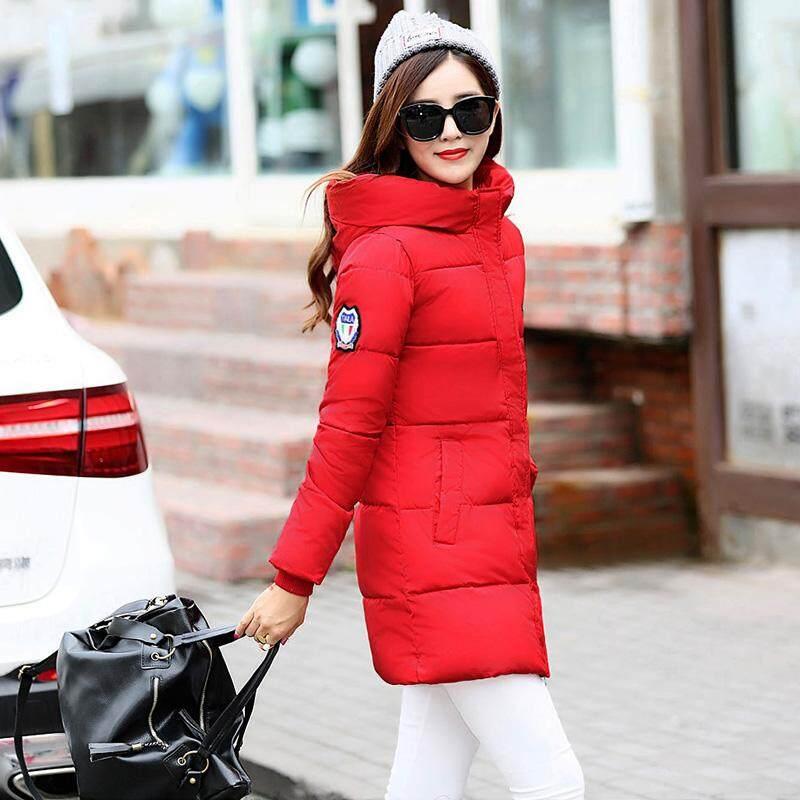 Jiaxueli เสื้อโค้ท เสื้อกันหนาวผ้าฝ้ายหญิง ทรงยาวระดับกลาง (สีแดง 813) (สีแดง 813).