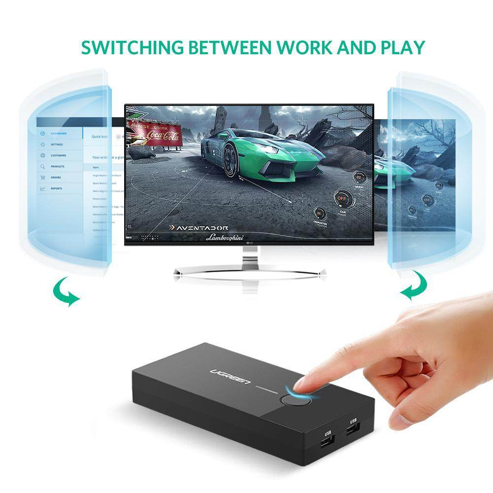 Ugreen KVM Switch VGA Video Box 2 Port 2 IN 1 OUT USB Adapter For Laptop Monitor