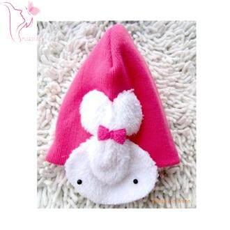 หมวกไหมพรม ติดกระต่ายนุ่มด้านข้างน่ารัก.