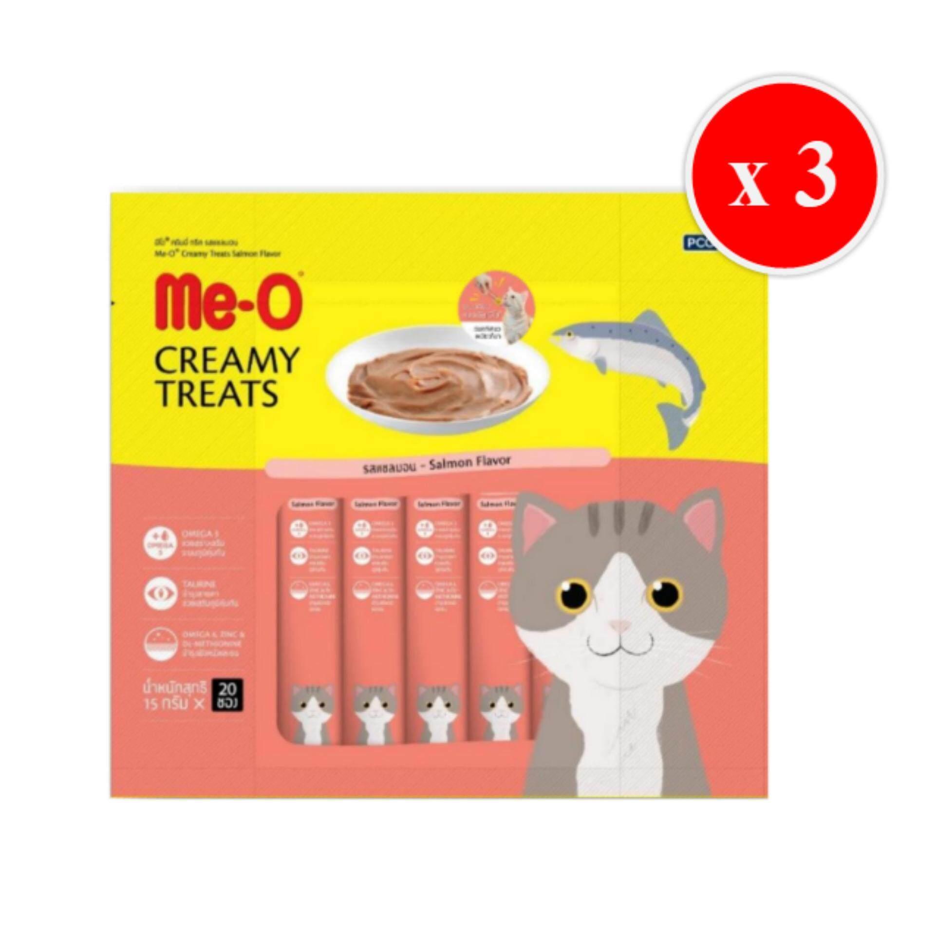 Me-O Creamy Treats Salmon 15g X 20 Units (3 Packs) มีโอ ขนมแมวเลีย รสปลาแซลมอน บรรจุแพ็คละ 20 ซอง ซองละ 15 กรัม (จำนวน 3 แพ็ค) By T.u. Pet Shop.