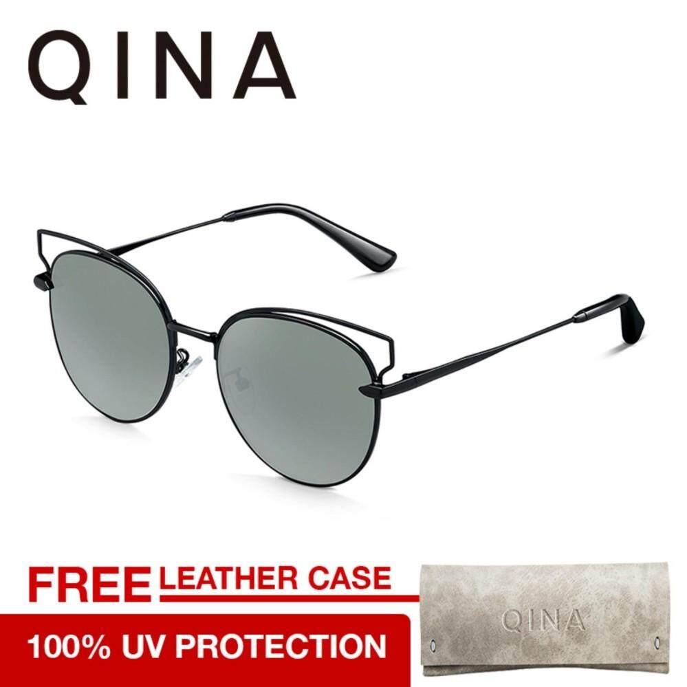 ขาย Qina Women Gold Sunglasses Uv 400 Protection Black Lenses Qn7002 2018 Collection Qina