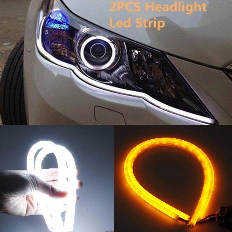 US 60CM Switchback LED Car DRL Daytime Running Lamp Strip Light Flexible Tube