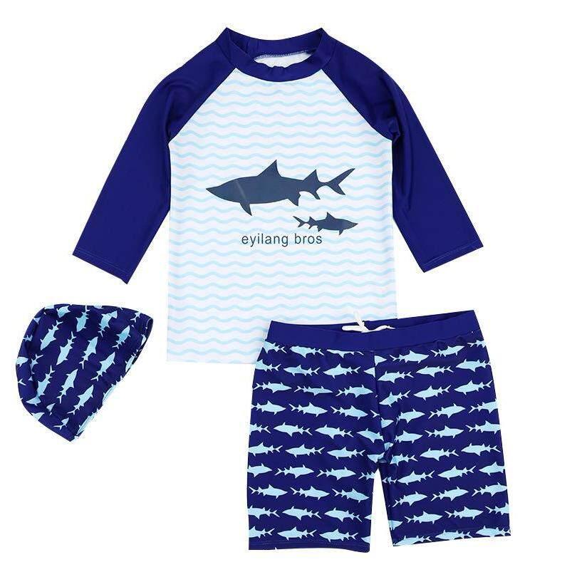 ชุดว่ายน้ำเด็ก 3 ชิ้น เสื้อ+กางเกง+หมวก ขาว-น้ำเงิน ลายฉลาม ไซต์ 4 -14  0936.
