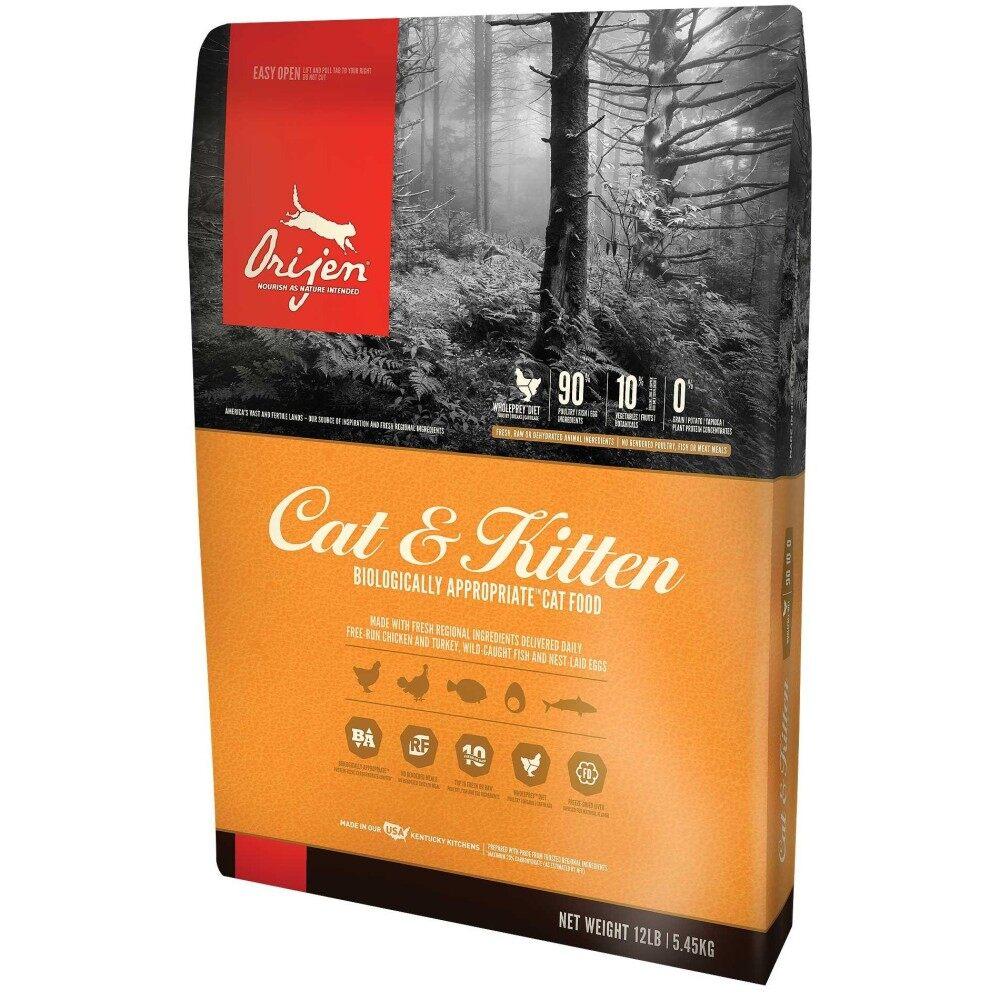ราคา Orijen อาหารเม็ด สูตรเนื้อไก่ ไข่ และปลา บำรุงผิวหนังและขน สำหรับลูกแมวและแมวโต ขนาด 340 กรัม
