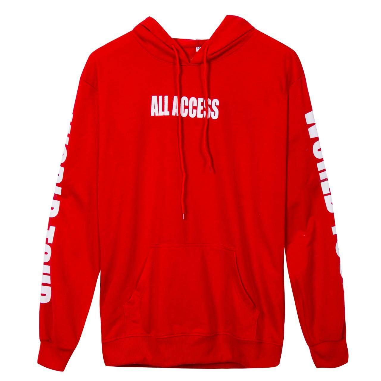 ขาย ซื้อ New Justin Bieber Purpose The World Tour Hoodie Sweatshirt Black Unisex Red Intl
