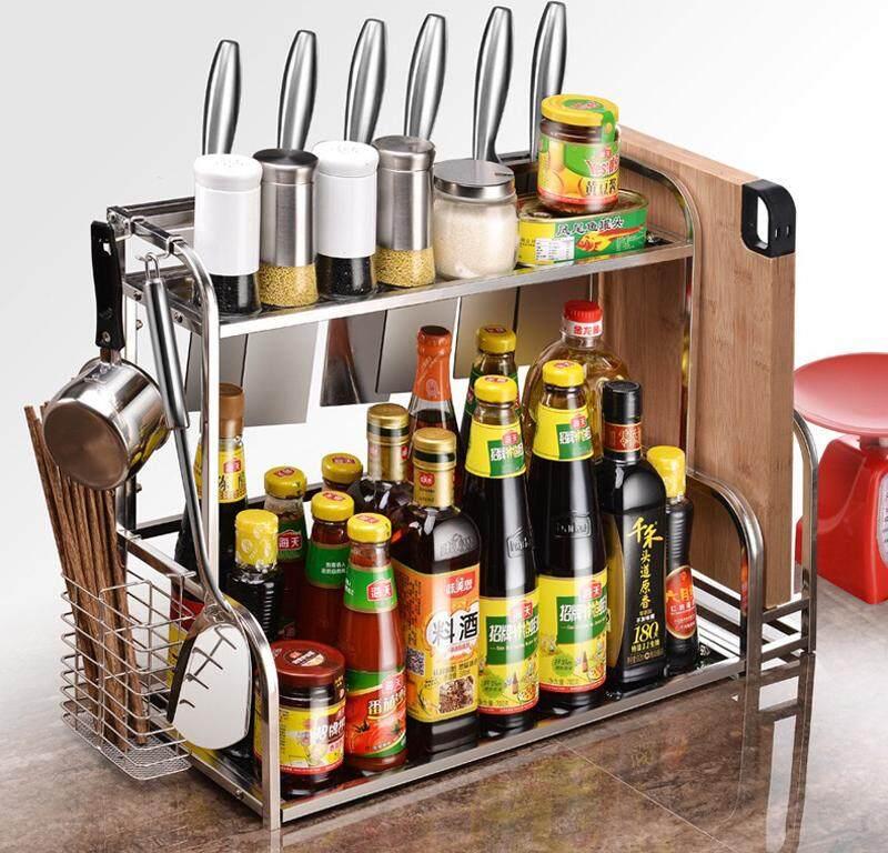 HEINOชั้นวางของสแตนเลสอเนกประสงค์ในห้องครัว พร้อมภาชนะใส่ตะเกียบ ที่วางเครื่องปรุงและตะขอเกี่ยวที่แขวน
