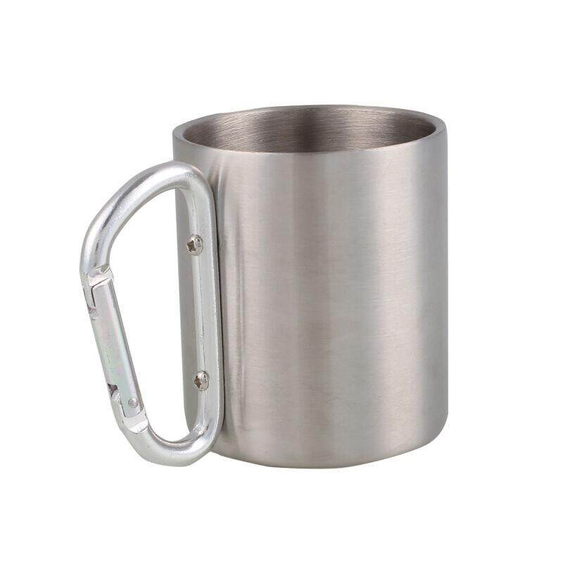 PREMIUM PRODUCTPortable Stainless Steel Camping Mug Outdoor Cup Bottle Drinkware Carabiner Kit