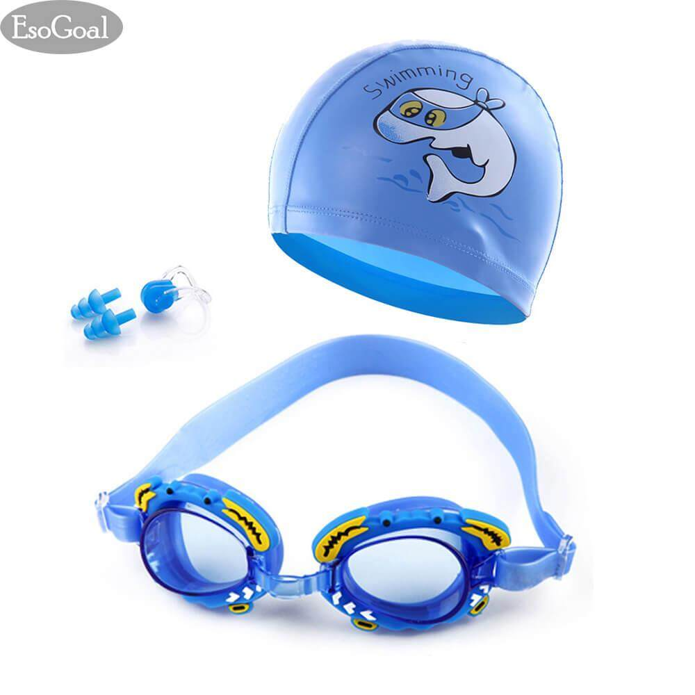 Esogoal Swim Cap And Swim Goggles Set For Kids, Swimming Goggles And Swimming Caps Waterproof And Anti-Fog Swimming Goggles For Children, Boys And Girls Silicone Cartoon Waterproof Swim Cap, With Nose Clip, Ear Plugs.
