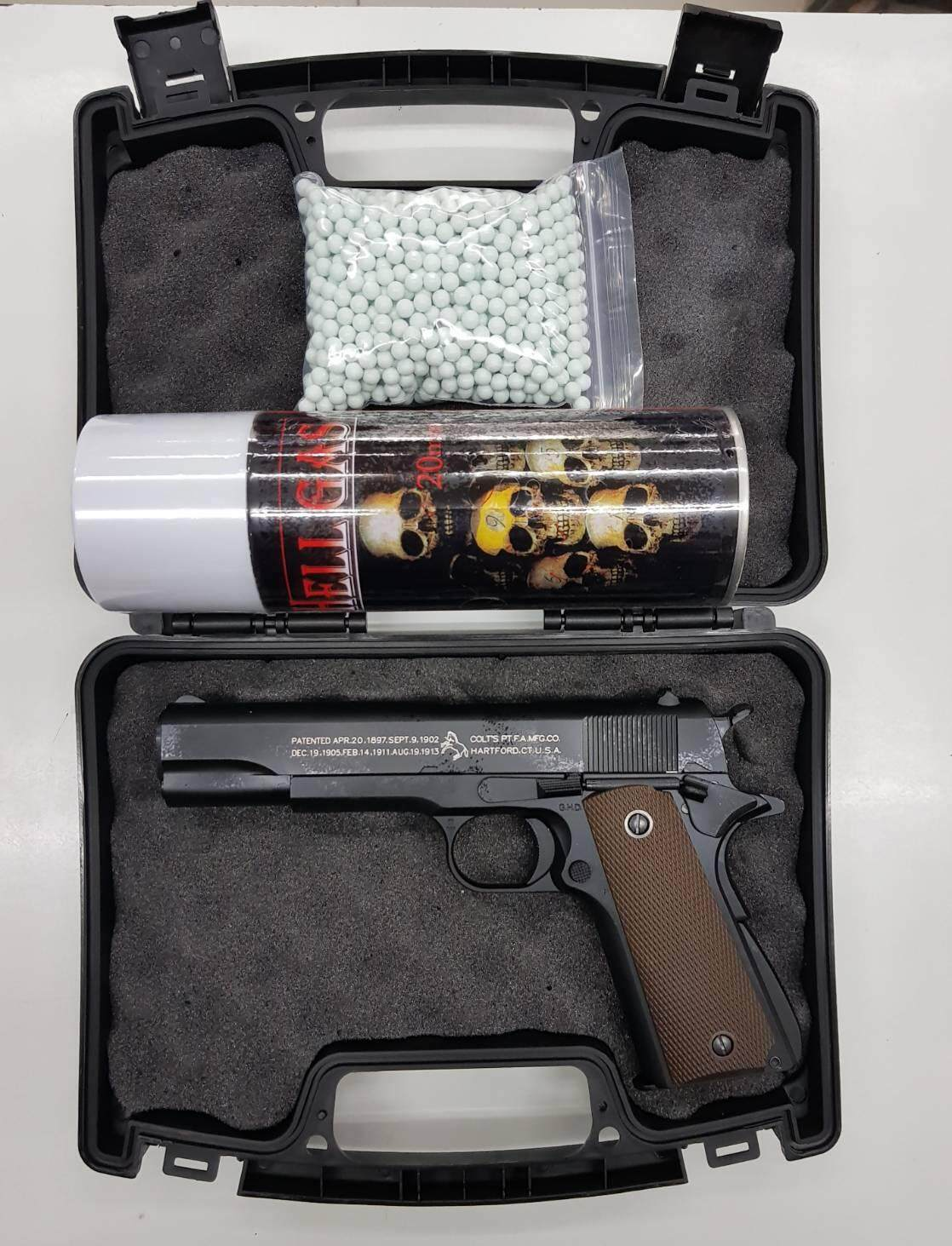 ปืนบีบีกัน M1911 G&d สีดำ พร้อมเคส แถมแก๊ส + ลูกกระสุน 1,000 นัด.