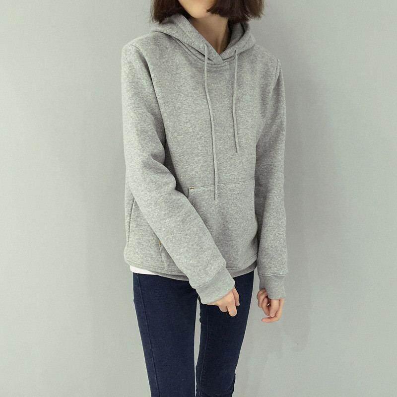 Tucky&jiang  เสื้อกันหนาวแฟชั่น มีฮูด แขนยาว สีพื้น (ผ้าไม่หนา) 004495.