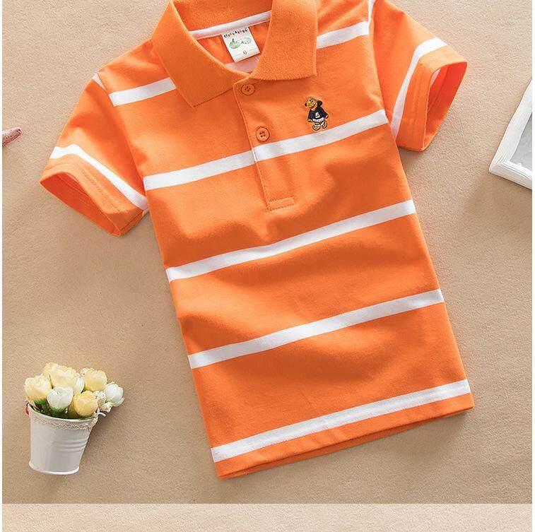 012 ชุดเด็กน่ารัก เสื้อผ้าเด็ก เสื้อผ้าเด็กผู้ชาย เสื้อผ้าเด็กผู้หญิง แฟชั่นชุดเด็ก เสื้อโปโลเด็ก ลายทาง สีส้ม.