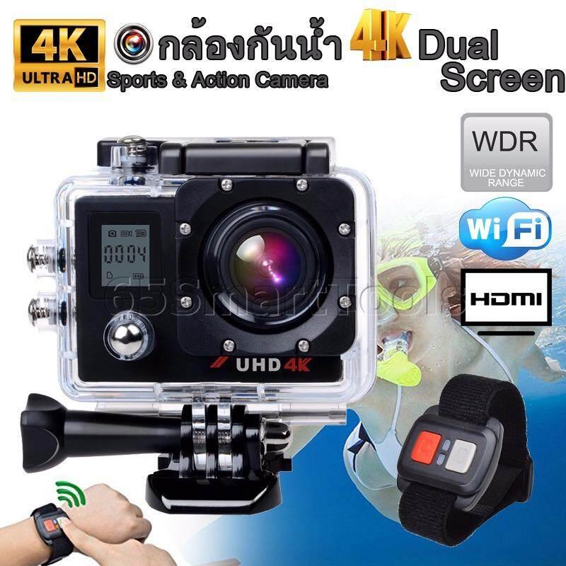 65smarttools กล้องติดหมวกกันน็อคกันน้ำ Sport Cam 4k Uhd Dual Screen With Wifi สีดำ รุ่น Hm3.