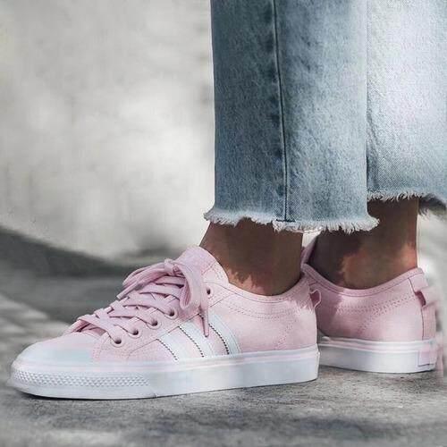 เก็บเงินปลายทางได้ ADIDAS รองเท้าผ้าใบ  อาดิดาส  Nizza (Pink ลุค Minimal) ++ของแท้100% พร้อมส่ง ส่งด่วน Kerry++